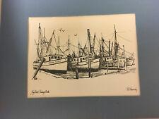 Key West Shrimp Boats,R E Kennedy original b/w signed drawing,Turtle Kraal Shop