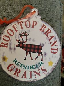 Reindeer Christmas wall decor sign Farmhouse country cottage red black plaid