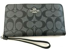 New Authentic Coach F73418 Large Phone Wristlet Wallet Signature Smoke Black