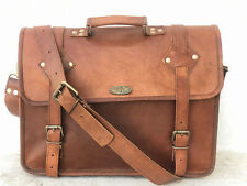 Camel Hide Men's Messenger Laptop Handmade Briefcase Satchel Vintage Genuine New
