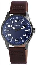 Akzent 42mm Quartz Armbanduhr analoge Leder Herrenuhr mit Dornschließe 3ATM