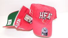 NEW HAT CAP 47 SEVEN SIZE ONE SIZE STRETCH UP TO 7 1/8 MIAMI HEAT NBA RED