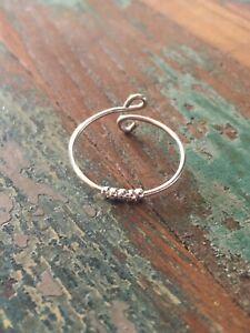 Anxiety-Ring mit 5 Perlen / silber versilbert zart verstellbar minimalism Fidget