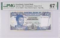 Swaziland 10 Emalangeni 1998 P 24 c Superb Gem UNC PMG 67 EPQ