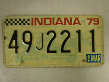 1979 Indiana License Plate with Stickers  49 J 2211