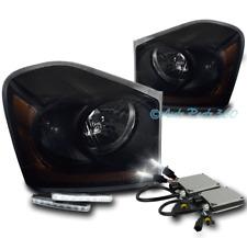04-05 DODGE DURANGO REPLACEMENT HEADLIGHTS LAMP BLACK/SMOKE W/DRL LED+6K HID KIT