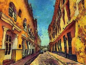 PAINTING CARTAGENA STREET COLUMBIA COLONIAL BUILD POSTER ART PRINT BB1618A