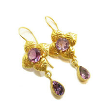 Gold Plated 925 Solid Sterling Silver Natural Amethyst Dangle Handmade Earrings