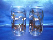 Rare MidCentury Christian  Jesus on the Cross pictoral pair of glass tumblers