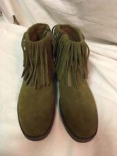 6476484ca68 Aerosoles Good Fun Green Suede Fringe Boots Size 10M NIB