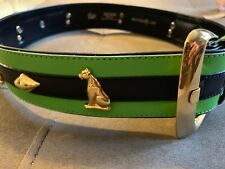 ESCADA SIGNED BLACK GREEN LEATHER BELT WITH GOLD TONE PANTHER FABULOUS !! 34