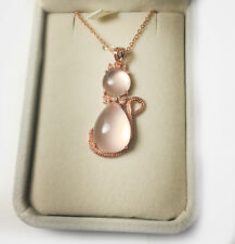Womens Natural Rose Quartz Kitty Cat Pendant Necklace Pink Crystal Jewelry Box