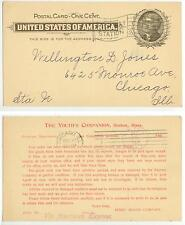 1901 Boston Mass Youth's Companion newspaper postal card - via American Express