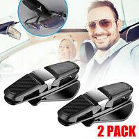 2PCS Universal Car Sun Visor Glasses Clip Carbon Fibre Sunglasses Cards Holder