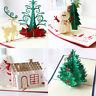 3D Pop Up Birthday Christmas Handmade Greeting Cards Postcard Xmas Gift
