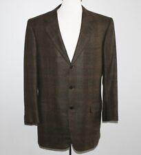100% Cashmere BRIONI Blazer 43R 43 Regular BROWN Check 3 Button Surgeon Cuff 42
