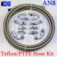 AN8 AN 8 8-AN PTFE Oil Gas Line E85 Ethanol Fuel Hose Fitting Adaptor 20FT 10PCS