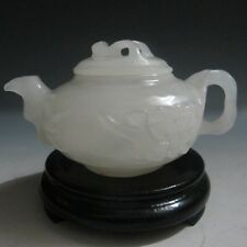 Chinese 100% Natural AFGHANISTAN Jade Hand-carved Plum Flower Teapot & Lid #1