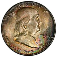 "1954 50C PCGS MS65 ""BUGS BUNNY"" FS-401 SILVER FRANKLIN ~ GORGEOUS RAINBOW GEM!"