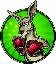 BOXING KANGAROO AUSTRALIA GREEN AND GOLD CAR WINDOW STICKER DECAL