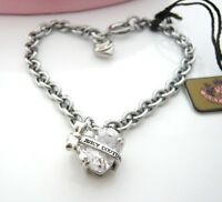 Auth Juicy Couture Faceted Heart Banner Bracelet Silvertone Clear stone