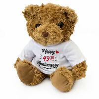 NEW - HAPPY 49th ANNIVERSARY - Teddy Bear - Cute Cuddly - Gift Present 49 Year