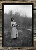 "Vintage Hunting .. Women With Shotgun Bird Hunting ... Antique 5""x7"" Photo Print"