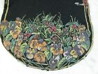 ANTIQUE VINTAGE HAND PAINTED BLACK FELT TAPESTRY DOILY LOADED W PANSIES FLOWER