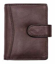 Genuine Soft Brown Leather Credit Card Holder Wallet-20 clear plastic pockets