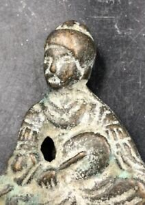Chinese Tang Dynasty Bronze Figurine With Fan 唐代铜像