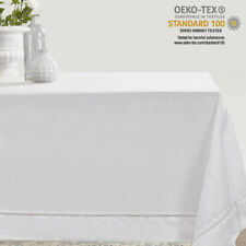 Simple&Opulence 100% Linen Hemstitch Tablecloth Napkins for Rectangular Table