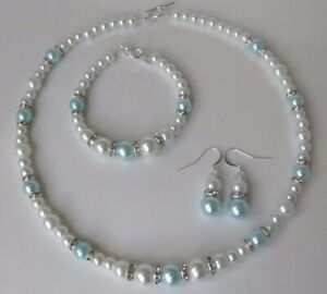 White & Baby Blue Pearl Necklace Bracelet and Earring set     (ga37a)