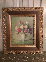 "Antique Vintage Extra Large Hand-Carved Wood Gesso Ornate Picture Frame 32""x28""."