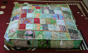 """Indian square 35"""" Vintage Green cotton patchwork heavy duty ottoman puff cover"""