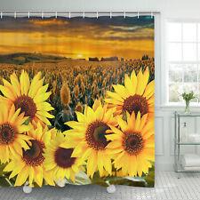 Sunset Yellow Sunflower Shower Curtain Waterproof Art Bathroom Shower Curtain