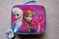 "Disney Frozen Elsa Anna Lunch Box Bag ""Sisters Forever"" Pink Blue Purple New"