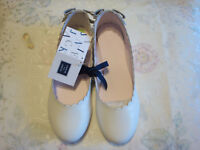 NWT Janie And Jack  Garden Brunch  Girls  Scalloped Leather Flat  Shoes  5K