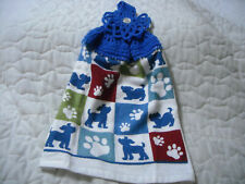 New listing Crocheted Blue Top Handmade Terrycloth Kitchen Towel W/Puppies & Paws Design