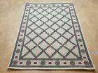 4x6 Panel Design Rug 4' x 6' Power-Loomed Vintage Rug Beige & Pine Green Carpet