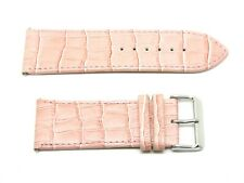 Watch Strap, Leather, Crocodile Grain, Stainless Steel Buckle, Pink, 28mm