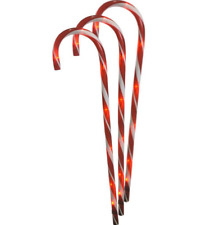 """3 Piece 28"""" Lighted Candy Cane Garden Stakes Christmas Yard Decor"""