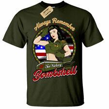 Always Remember American Bombshell T-Shirt usa pinup mens
