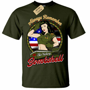 Always Remember American Bombshell T-Shirt usa pinup mens