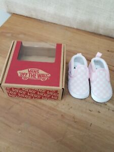 VANS Slip on V Crib Checkerboard White Pink Baby Size 3.0 Soft Shoes NEW IN BOX