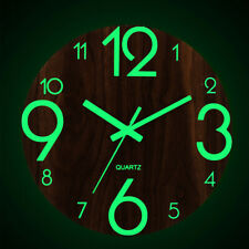 NEU Holz Modern Durchmesser 30cm Wanduhr Nachtlicht Uhr Designuhr Leuchtend DHL!
