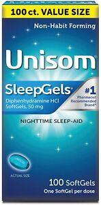 Unisom Sleep Gels Softgels Sleep Aid 100ct -Expiration Date 08-2022-