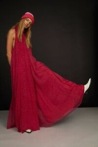 NWT FREE PEOPLE Sz S THE EDGE OF LOVE EXTREME WIDE LEG HALTER JUMPSUIT