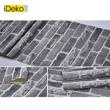 Rétro 3D PVC Papier Peint Simulation Briques Décoration Gris rétro 10*0.53(M)