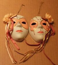 "Mini Boy and Girl Porcelain Ceramic Masks with Faux Flowers 3.5"" X 2.25"""
