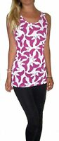 WOMENS LADIES SUMMER LONG  VEST TOP BUTTERFLY PRINT  UK SIZE 8 10 12 S M